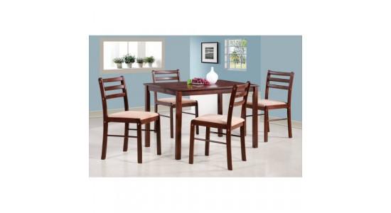 MK-5300-ES комплект 1 стол + 4 стула с мягким сиденьем, цвет: Дуб в красноту - стол прямоугольный