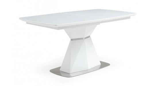 Стол обеденный CRYSTAL (1600-2100х900х760) экстра белое сатин стекло