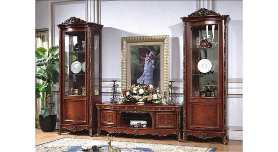 Шкафы-витрины и ТВ подставка Камилла (орех)