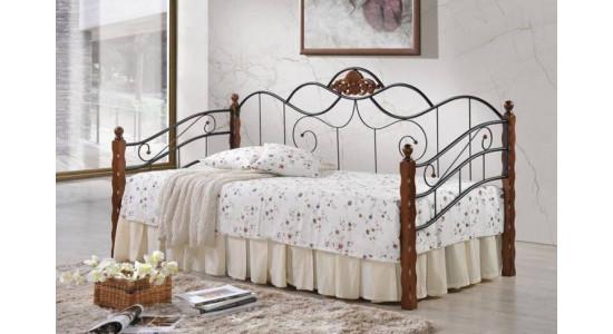 Кровать AT-881  (решетка металлическая) (темная вишня)