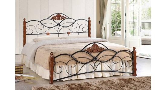 Кровать AT-881N  (решетка металлическая) (темная вишня)
