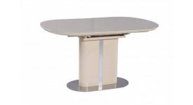 Стол обеденный (трансформер) DISCOVERY (120-160) (лак ваниль со стеклом)