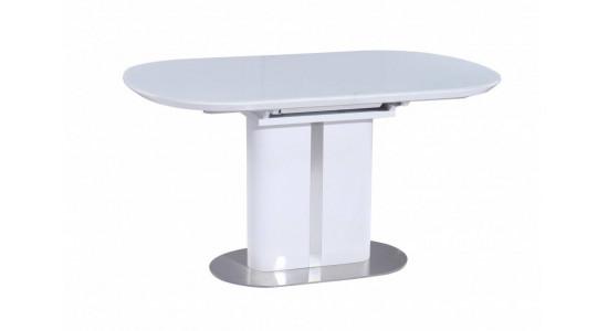 Стол обеденный (трансформер) DISCOVERY (120-160) (белый лак со стеклом)