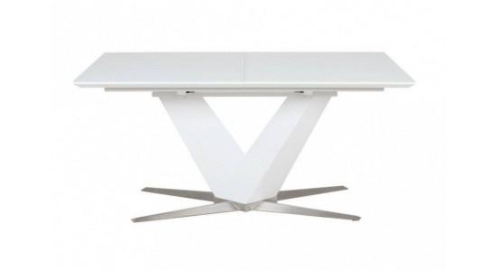 Стол обеденный (трансформер) POINT (экстра белое сатин стекло)