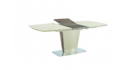 Стол обеденный (трансформер) TESS (сатинированное бежевое стекло/орех)