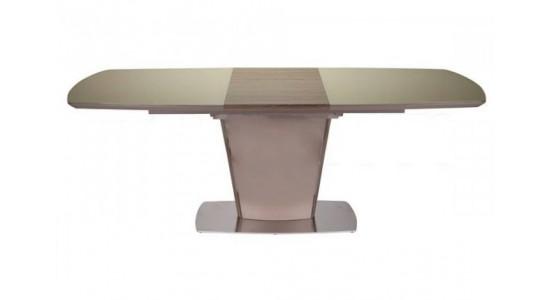 Стол обеденный (трансформер) TESS (сатинированное стекло мокко/орех)