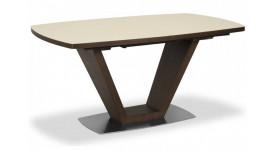 Стол обеденный (трансформер) ATLANTA (сатинированное стекло крем/орех)