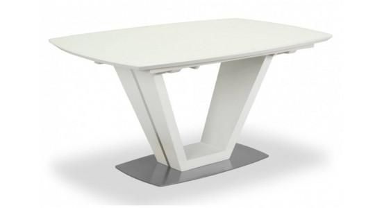 Стол обеденный (трансформер) ATLANTA (экстра белое сатин стекло)