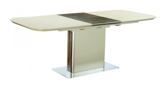 Стол обеденный (трансформер) ALFA (сатинированное бежевое стекло/ваниль)