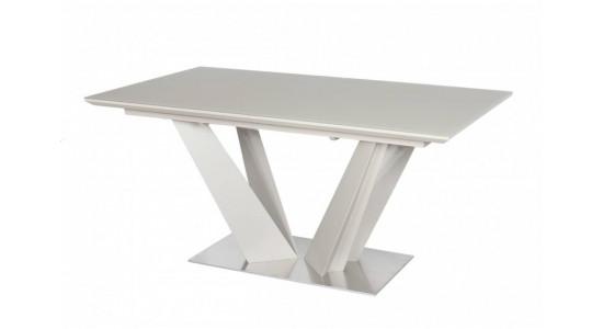 Стол обеденный (трансформер) ATLANT (латте сатин стекло) 1,6 м.