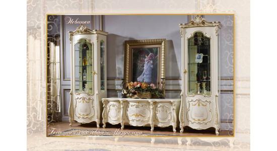 Колонки и ТВ подставка Магдалена (цвет: белый+золото)