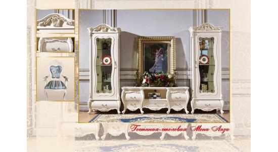 Колонки и подставка ТВ Мона Лиза (цвет: белый+золото)
