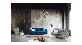 Комплект мягкой мебели Честер (серый)