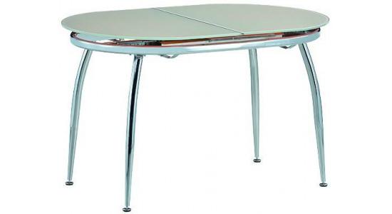 Овальный стол-трансформер со стеклянной столешницей CALIPSO (бежевый)