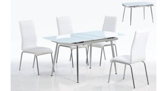 Раскладной стол со стеклянной столешницей BALI (белый)