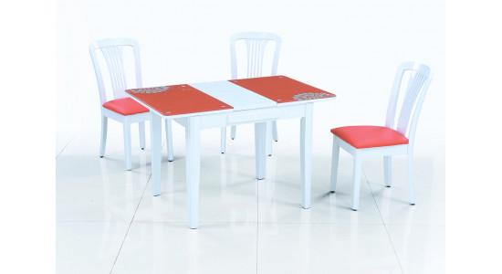 Стеклянный обеденный стол-трансформер LOTUS (оранжевый)