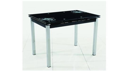 Кухонный стол-трансформер со стеклянной столешницей B179 - 34 - 2 (чёрный)