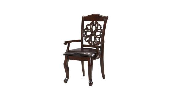 Стул с резной спинкой и сиденьем из кожи VIRGINIA (массив)