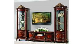 Витрины для посуды в гостиную с ТВ подставкой с цветом дерева бежевый (мрамор), слоновая кость