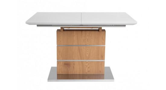 Стол обеденный (трансформер) CONTI (140*180) (латте сатин стекло/дуб)