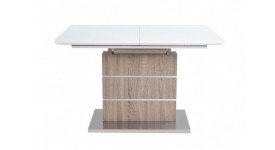 Стол обеденный (трансформер) CONTI (140*180) (экстра белое сатин стекло/кэмел)