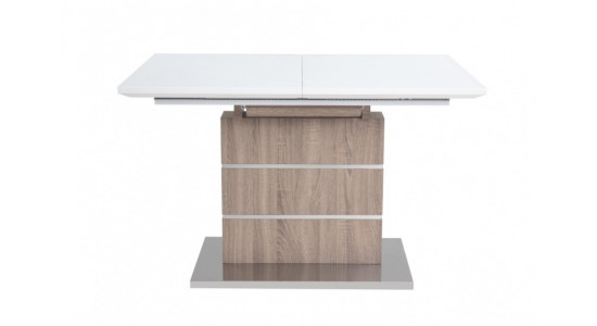 Стол обеденный (трансформер) CONTI (120*160) (экстра белое сатин стекло/кэмел)