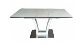 Стол обеденный (трансформер) FUSION (140-180) (белый сатин/серый)